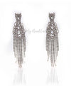 Q.Martha-long tassel rhinestone silver plated bridal statement earrings - My Roial Ears LTD