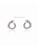 Q.Audrina- sterling silver remarkable bridal stud earrings - My Roial Ears LTD