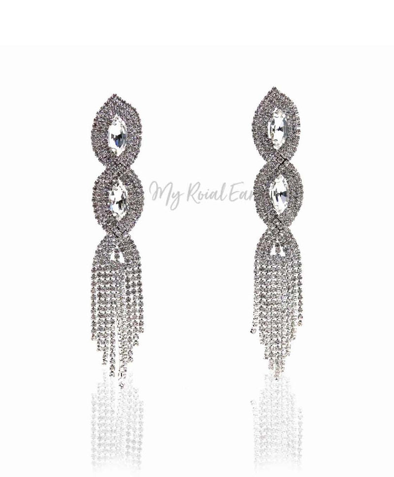 Q Annalore-magnificent paved rhinestone tassel bridal earrings - My Roial Ears LTD