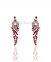 Q.Allison Red-exquisite and plated gold lavish bridal earrings - My Roial Ears LTD