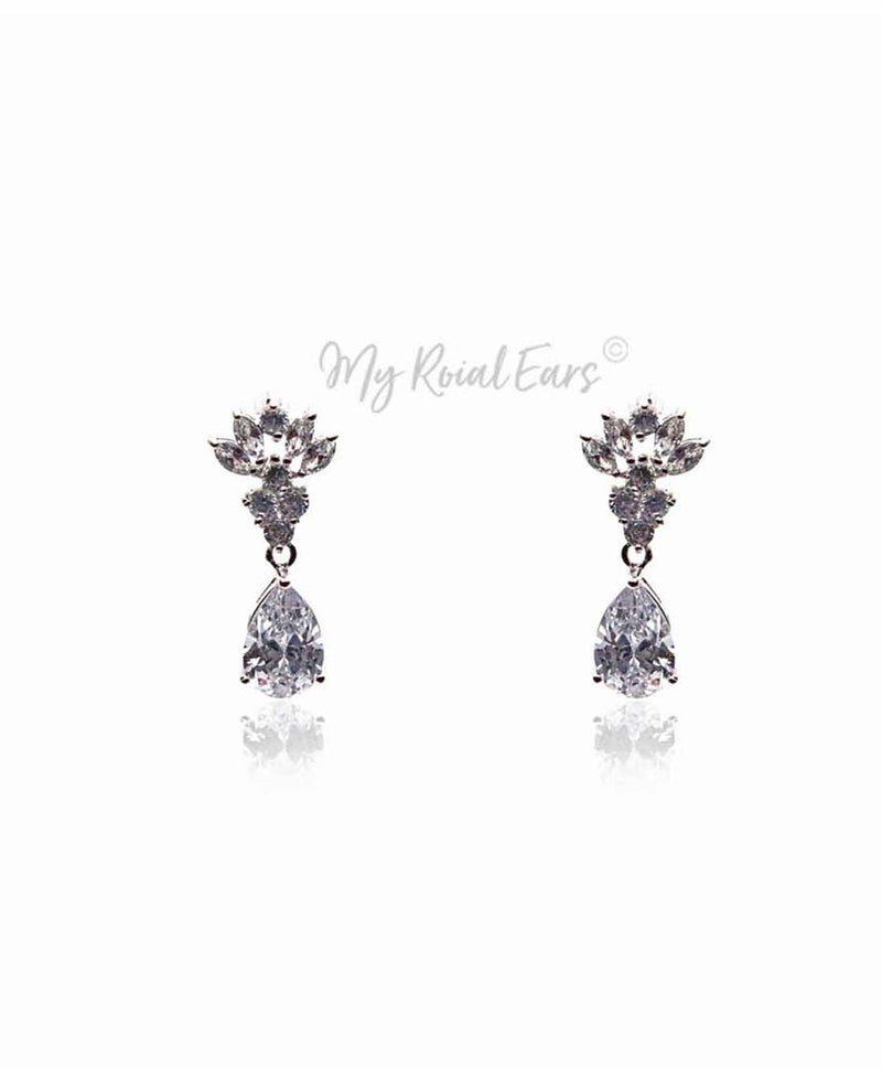 Q.Ann Marie-stunning elegance plated stud bridal drop earrings - My Roial Ears LTD