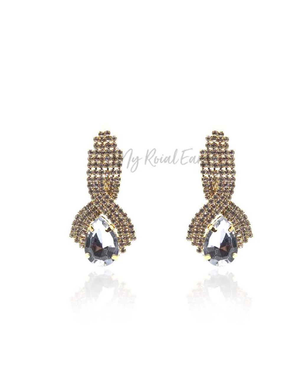 Q.Mia-luxurious gold-plated crystal stone drop bridal earrings - My Roial Ears LTD