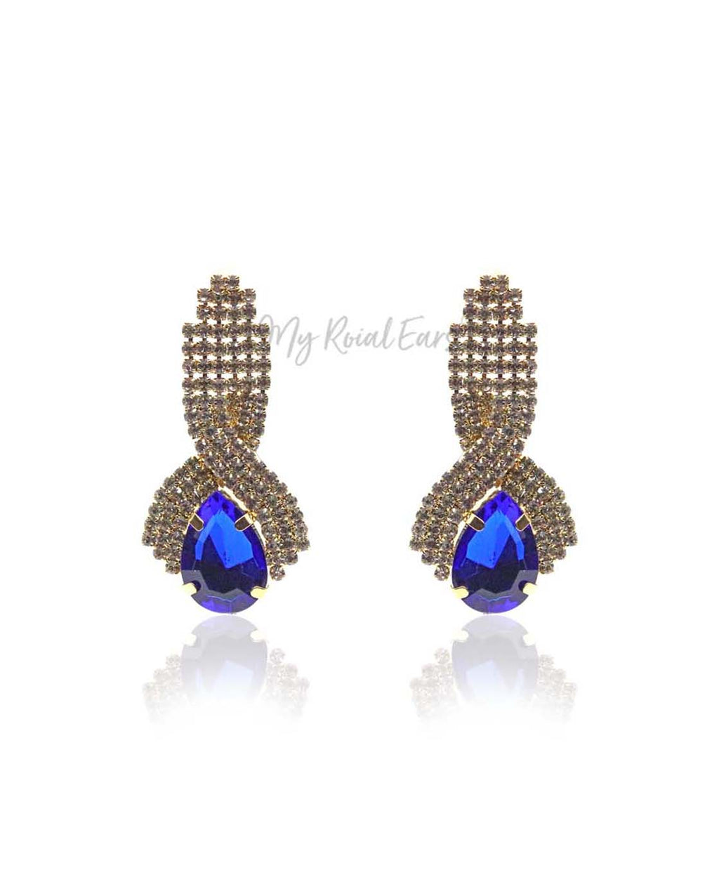 Q Mia Deep Blue-luxurious gold-plated crystal stone drop bridal earrings - My Roial Ears LTD