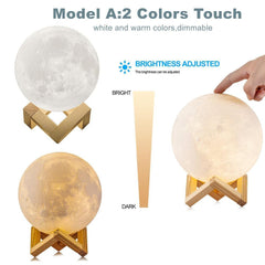 16/2 Color Changing 3D Moon Lamp With Remote Control