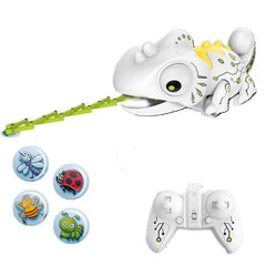 RC Robotic Chameleon Toy with Multi Colored LED Lights and Bug Catching Action