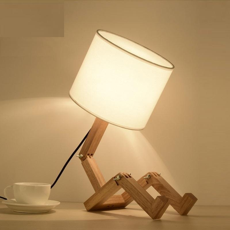 Robot Shape Wooden Table Lamp