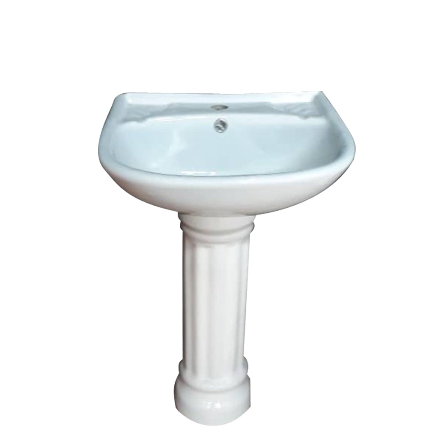 Balterley D-Shape 1 Tap Hole Basin and Full Pedestal