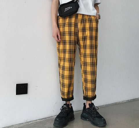 Street-wear Plaid Pants Casual Straight Harem Pants Men