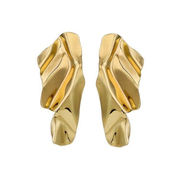 Gold Silver Exaggerated Wave Stud Earrings
