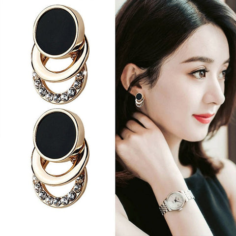 Geometric Round Circle Shiny Rhinestone Big Earring