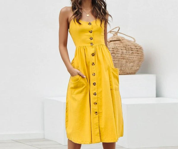 Casual Midi Lady Beach Button Dresses