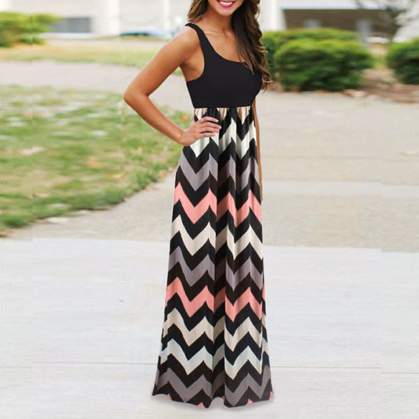 Striped Design Sleeveless Beach Summer Maxi Dress