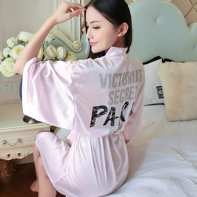 Sexy Print Satin Sleepwear Bathrobe