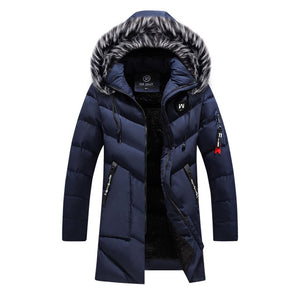 Thick Warm Coat Long Hooded Jacket Men