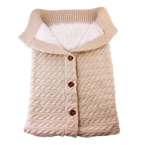 Baby Warm Sleeping Bags Infant Button Knit Swaddle Wrap