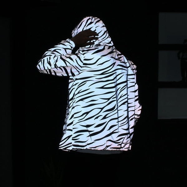 Windbreaker reflective jacket casual hip hop Hooded coats