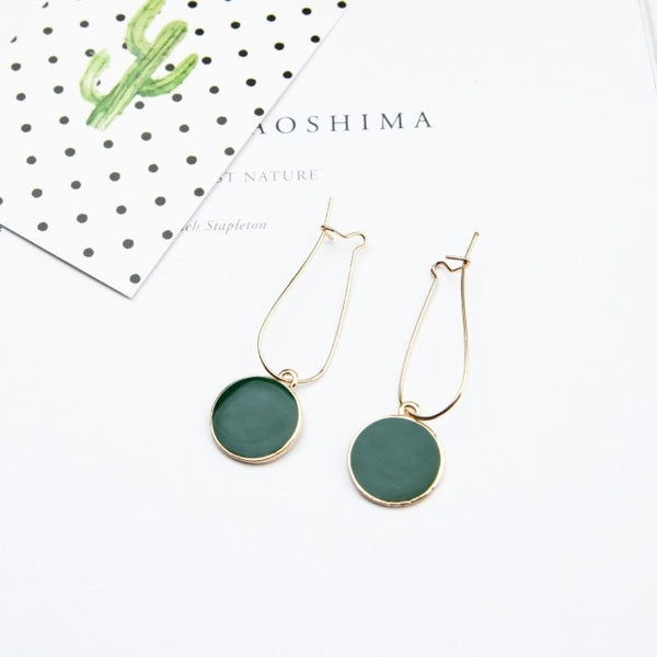 Green Circle Earrings