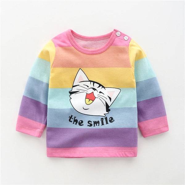 Unisex Cartoon Long Sleeve O-Neck Kids T shirt