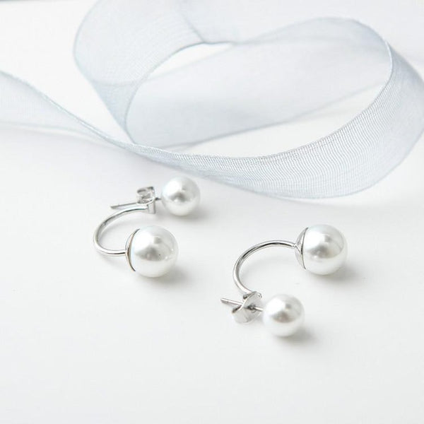 Double Pearl Earrings Wedding day