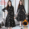 Winter Black Vintage Floral Chiffon Midi Dress