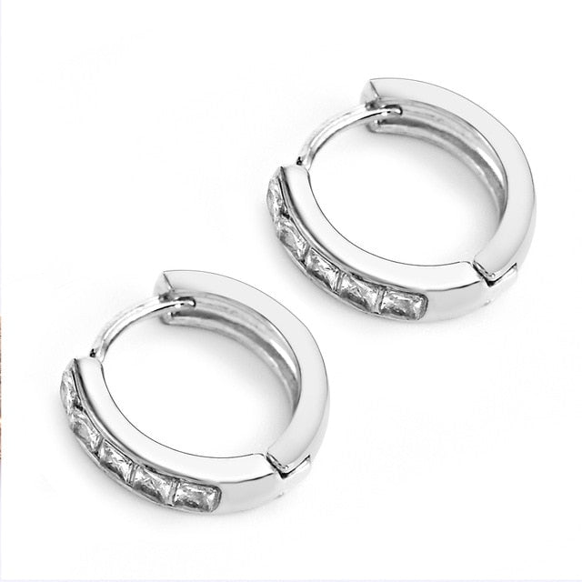 Stainless Steel Inline Crystal Earrings