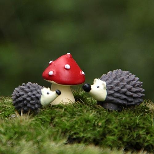 3Pc/Set Garden Moss Resin Crafts& Red Dot Mushroom