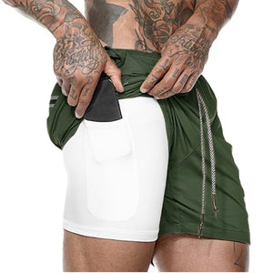 Men 2 in 1 Workout Short Pants
