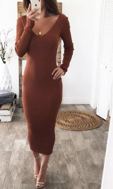 Stretchy Long Sleeve Midi Dress Black White Red