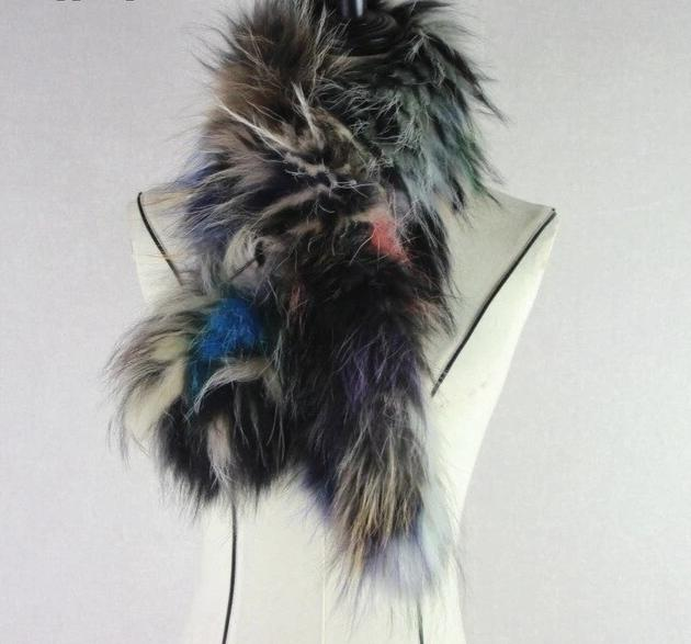Knitted Fox Fur mixed color scarf