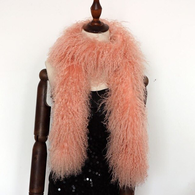 Solid black winter lamb fur scarf