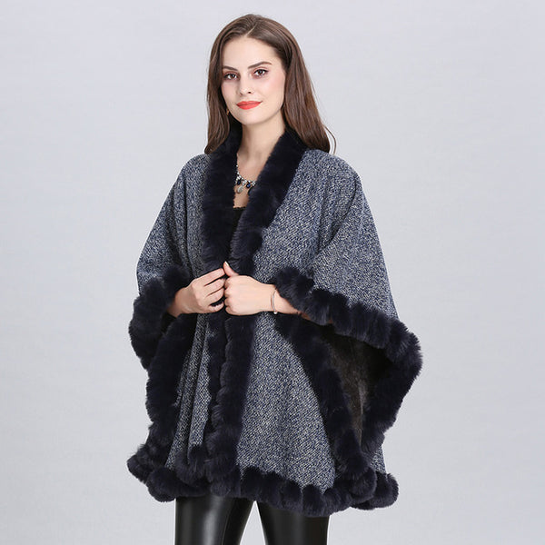 Velvet Faux Fox Fur Collar Coat