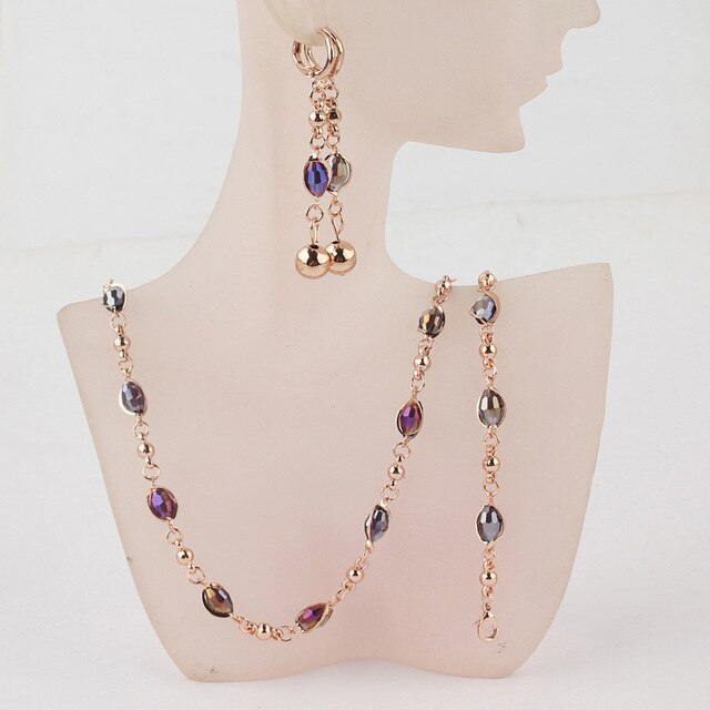 Crystal African Beads Jewellery Sets Gold Color