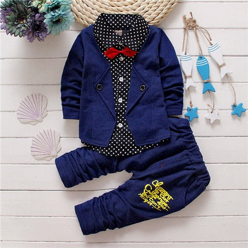 Button Letter Bow Suit Sets For Kids Boys