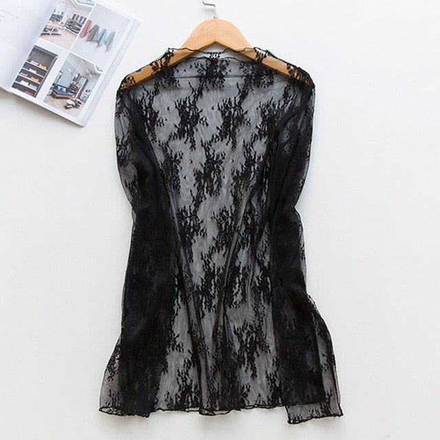 Black white off shoulder lace Nightgown