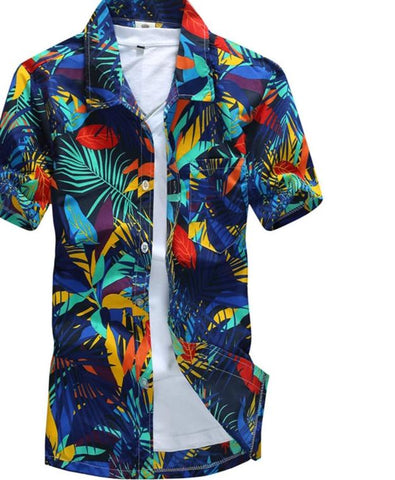 Male Casual Printed Beach Shirts Short Sleeve