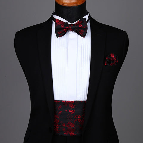 Solid Cummerbund Self Bow Tie & Pocket