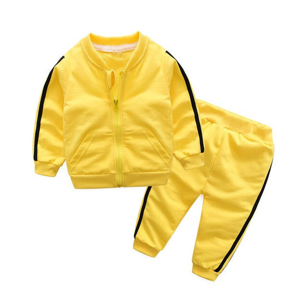 Long-sleeved Zipper Coats+Pants For Unisex Kids