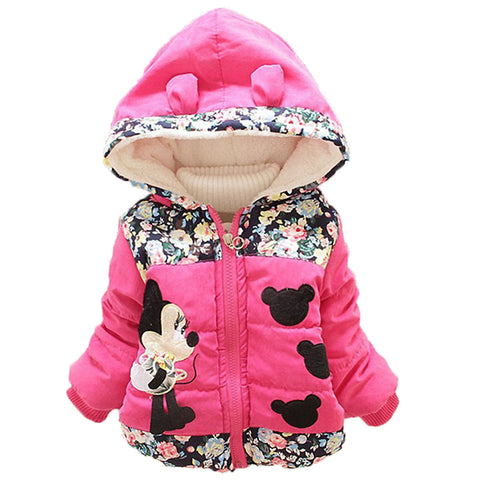 Minnie Cartoon Hooded Outerwear For Girls
