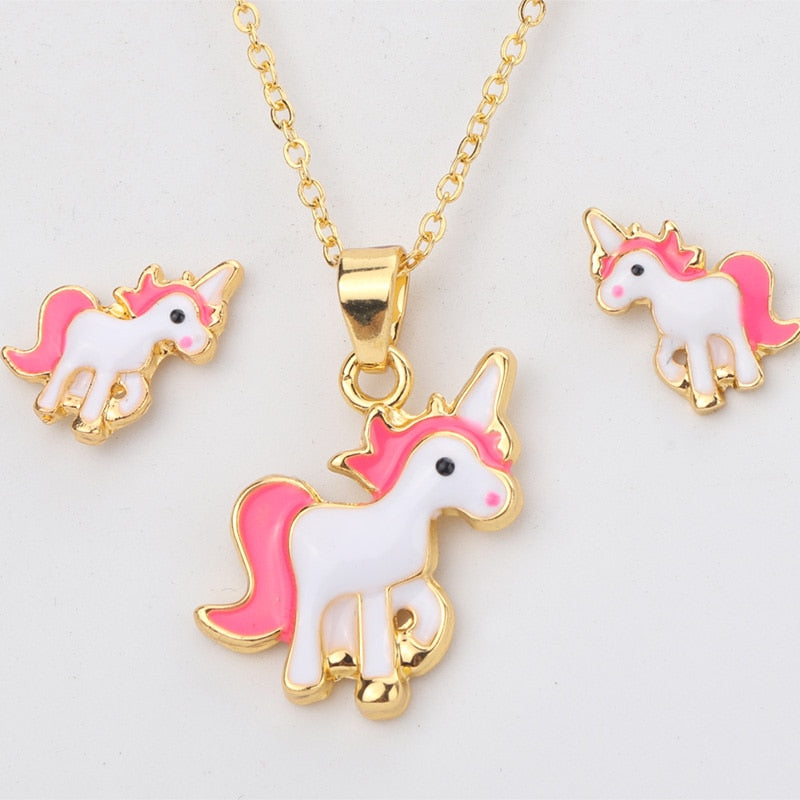 Pink Unicorn Necklace Earring