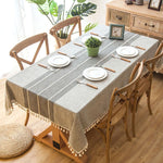 Plaid Decorative Linen Tablecloth With Tassel