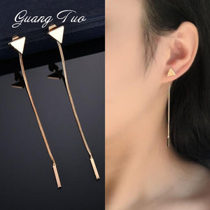 Triangle Shape Chain Tassel Earrings