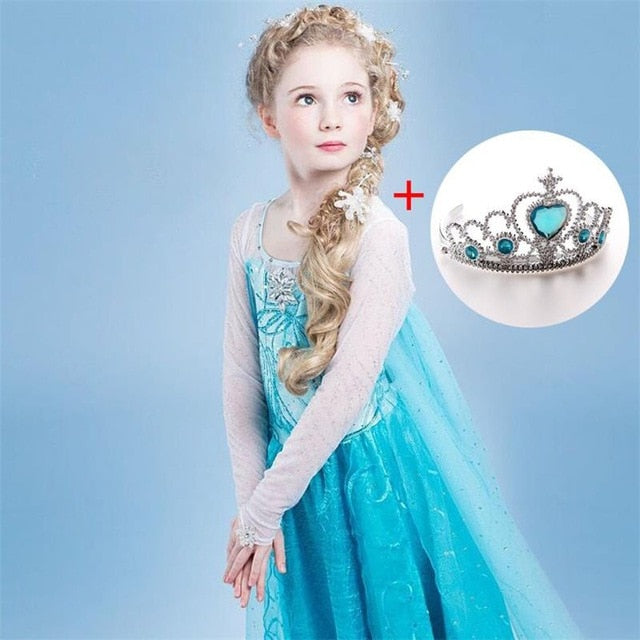 Elsa Dress for Baby Girls With Crown