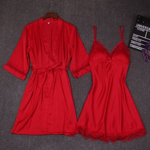 2 Pieces Nightdress Bathrobe With Chest Pad