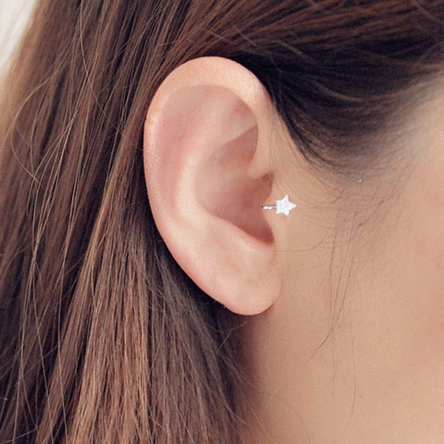 Single Unique Silver Piercing Earring
