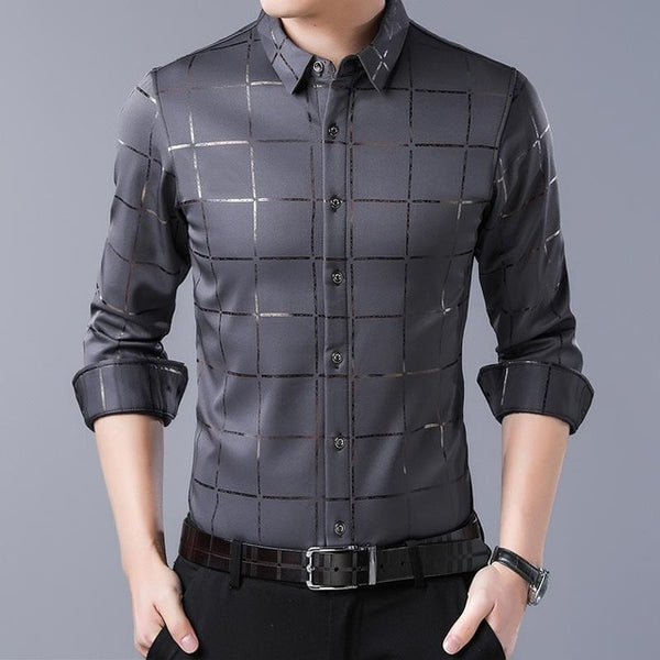 Casual spring luxury plaid long sleeve slim fit shirt