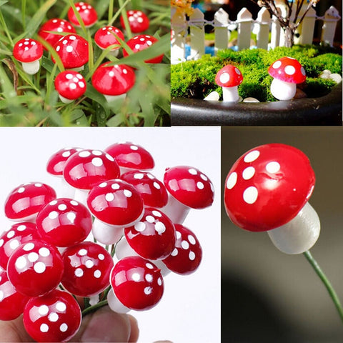 Artificial Mini Mushroom Miniatures Fairy Garden Moss