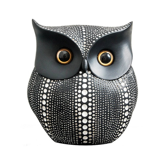 White Black Owls Miniatures Home Decoration