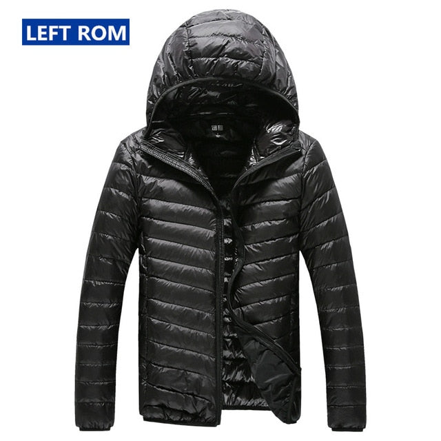 High-end Warm Men's Feather Hooded