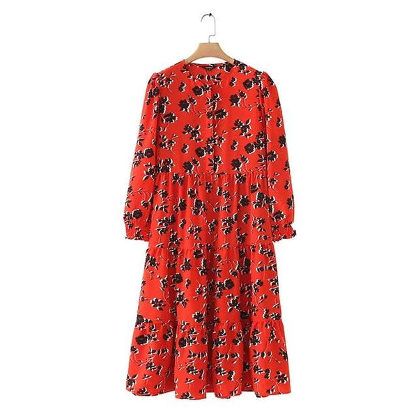 Floral print  long sleeve retro midi dresses