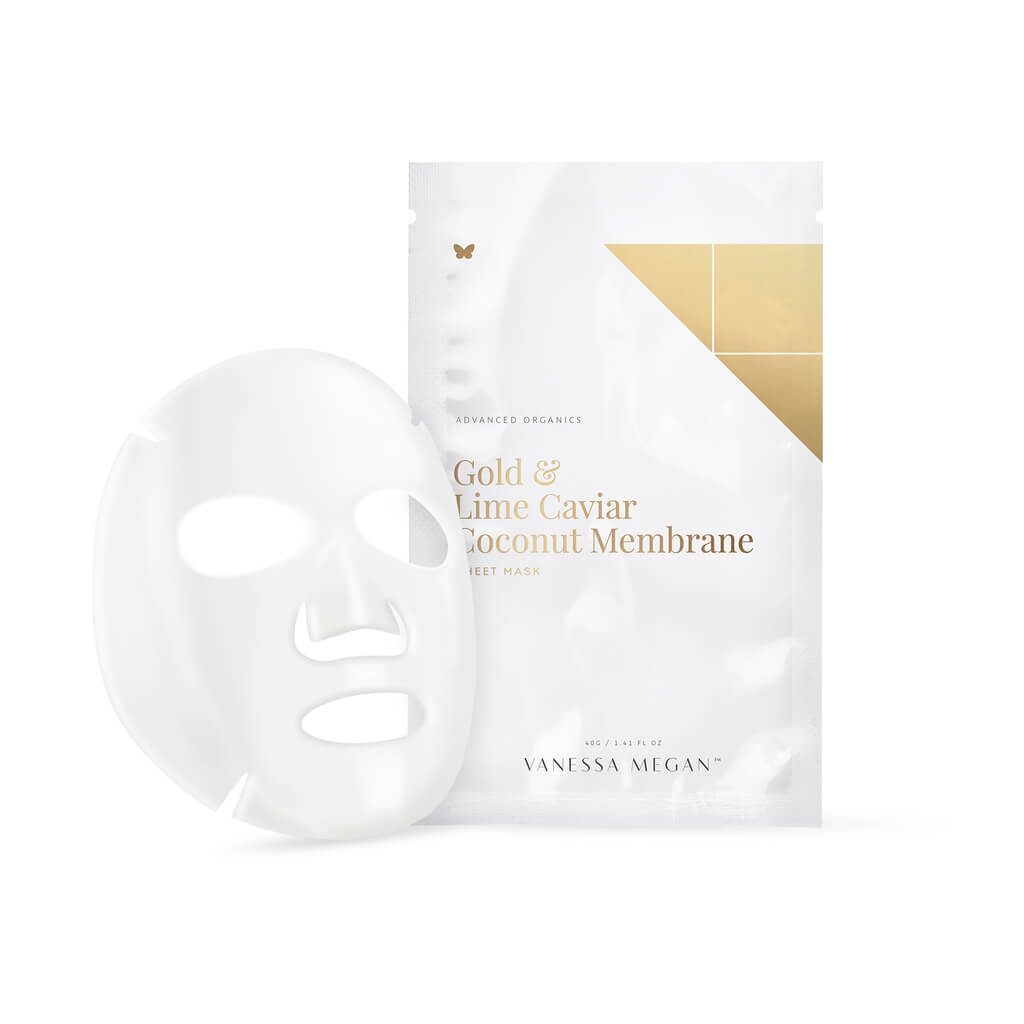 Vanessa Megan Gold & Lime Caviar Coconut Membrane Sheet Mask - Natural & Organic Skin Care
